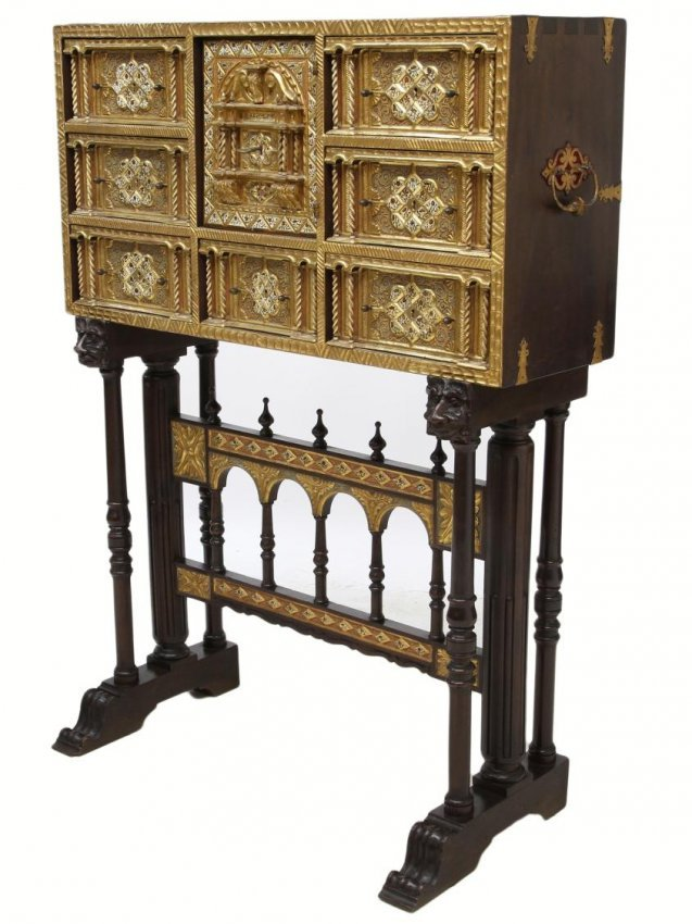 257: ORNATE ANTIQUE GILTWOOD SPANISH PAPELERIA ON STAND