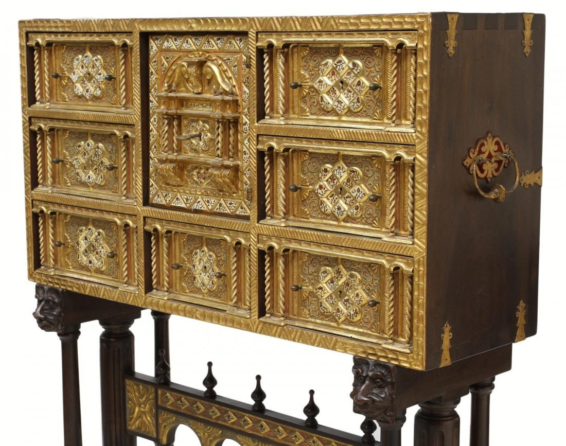 257: ORNATE ANTIQUE GILTWOOD SPANISH PAPELERIA ON STAND - 2