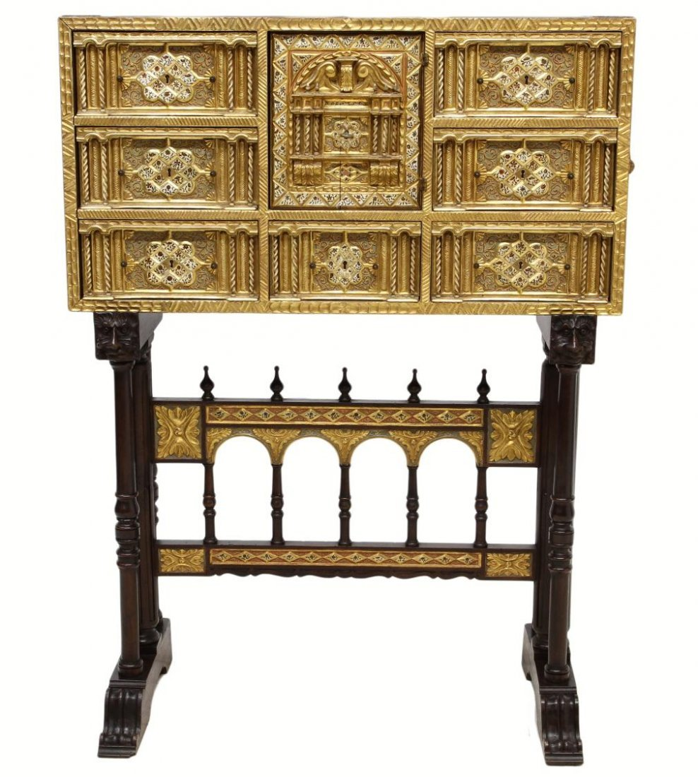 257: ORNATE ANTIQUE GILTWOOD SPANISH PAPELERIA ON STAND - 3