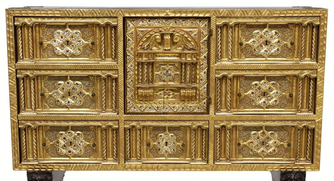 257: ORNATE ANTIQUE GILTWOOD SPANISH PAPELERIA ON STAND - 4