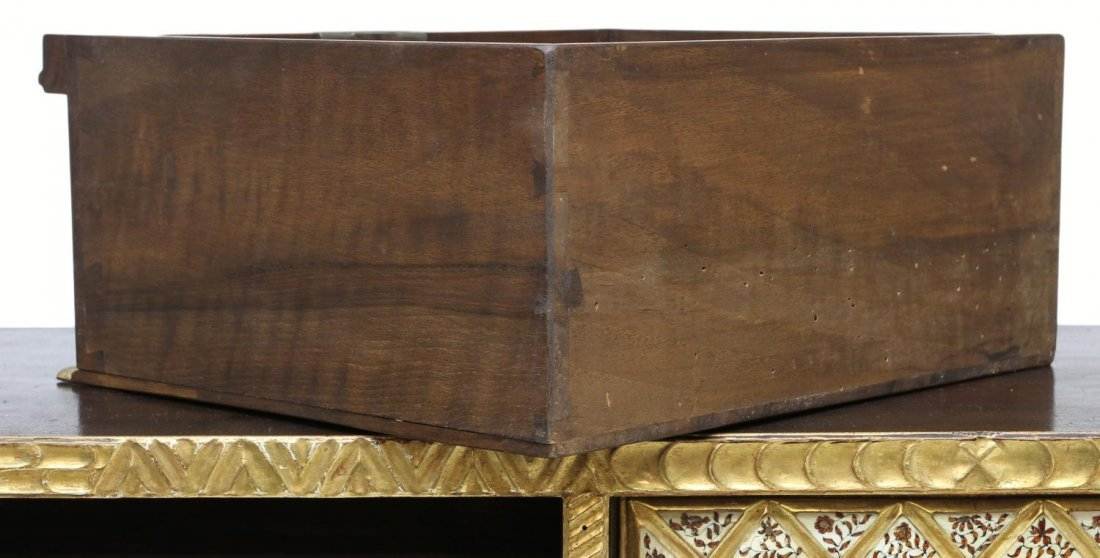 257: ORNATE ANTIQUE GILTWOOD SPANISH PAPELERIA ON STAND - 8
