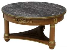 FRENCH EMPIRE MARBLE TOP COFFEE TA BLE
