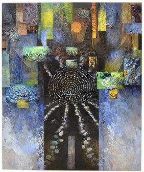 MODERN MIXED MEDIA COLLAGE, LABYRINTH, VERA SIMONS