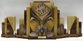 FRENCH ART DECO ONYX PEACOCK GARNITURE CLOCK SET