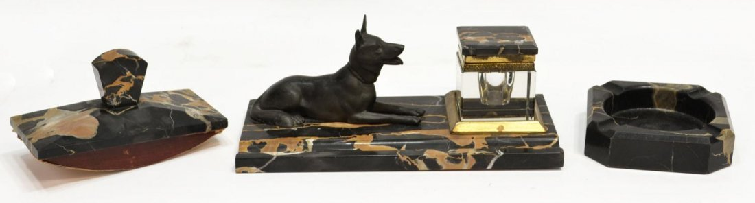 (3) ART DECO PORTORO MARBLE & BRONZE DOG DESK SET