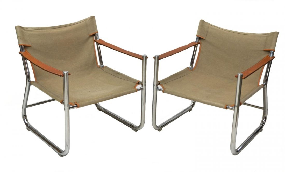 PAIR DANISH MODERN CHROMED STEEL & LEATHER CHAIRS