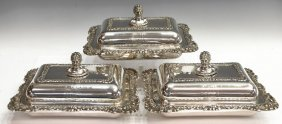 (3) CONTINENTAL FIGURAL SILVERPLATE ENTREE DISHES