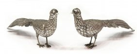 PAIR FINE CONTINENTAL SILVER TABLE TOP PHEASANTS
