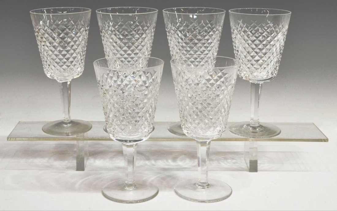 (6) WATERFORD CUT CRYSTAL 'ALANA' WATER GOBLETS