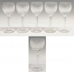 (6) WATERFORD CUT CRYSTAL 'ALANA' WINE GOBLETS