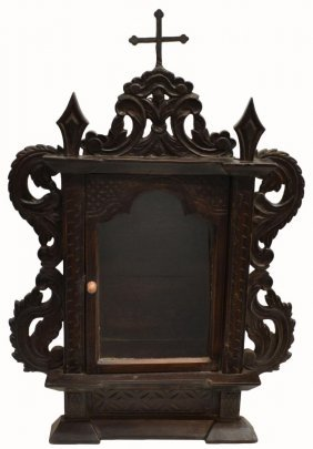PORTUGUESE COLONIAL CARVED ROSEWOOD ALTAR SHRINE