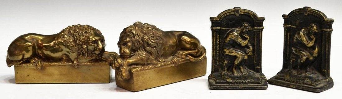 BRASS & IRON LION DORMANT & THINKER BOOKENDS