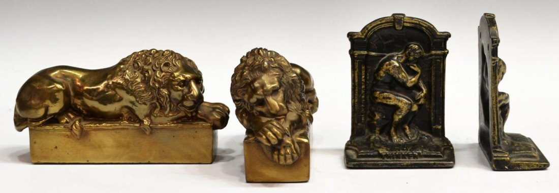 BRASS & IRON LION DORMANT & THINKER BOOKENDS - 2