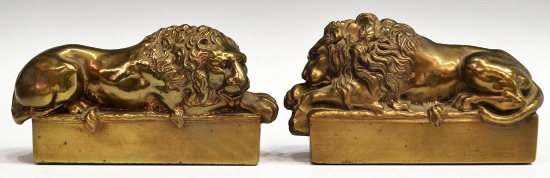 BRASS & IRON LION DORMANT & THINKER BOOKENDS - 3