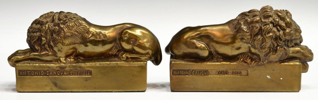 BRASS & IRON LION DORMANT & THINKER BOOKENDS - 4