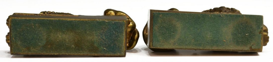 BRASS & IRON LION DORMANT & THINKER BOOKENDS - 6