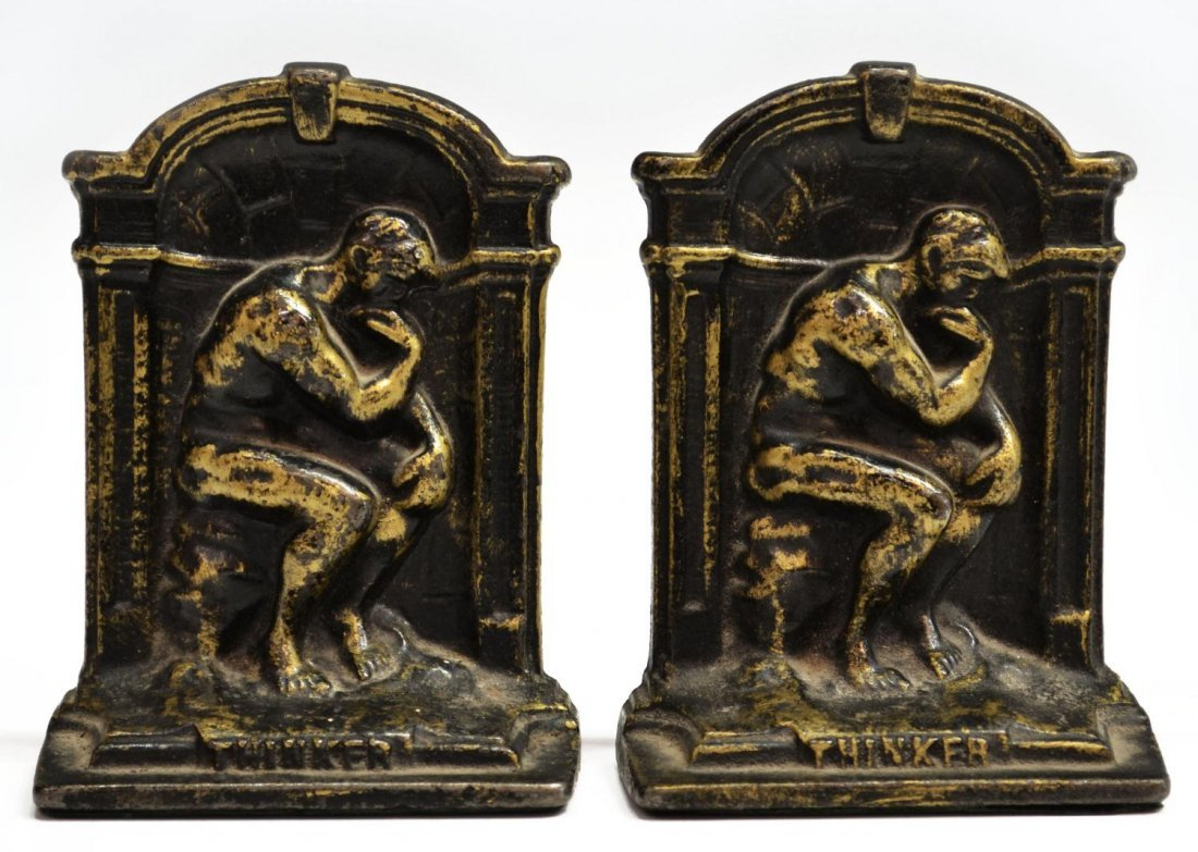 BRASS & IRON LION DORMANT & THINKER BOOKENDS - 7