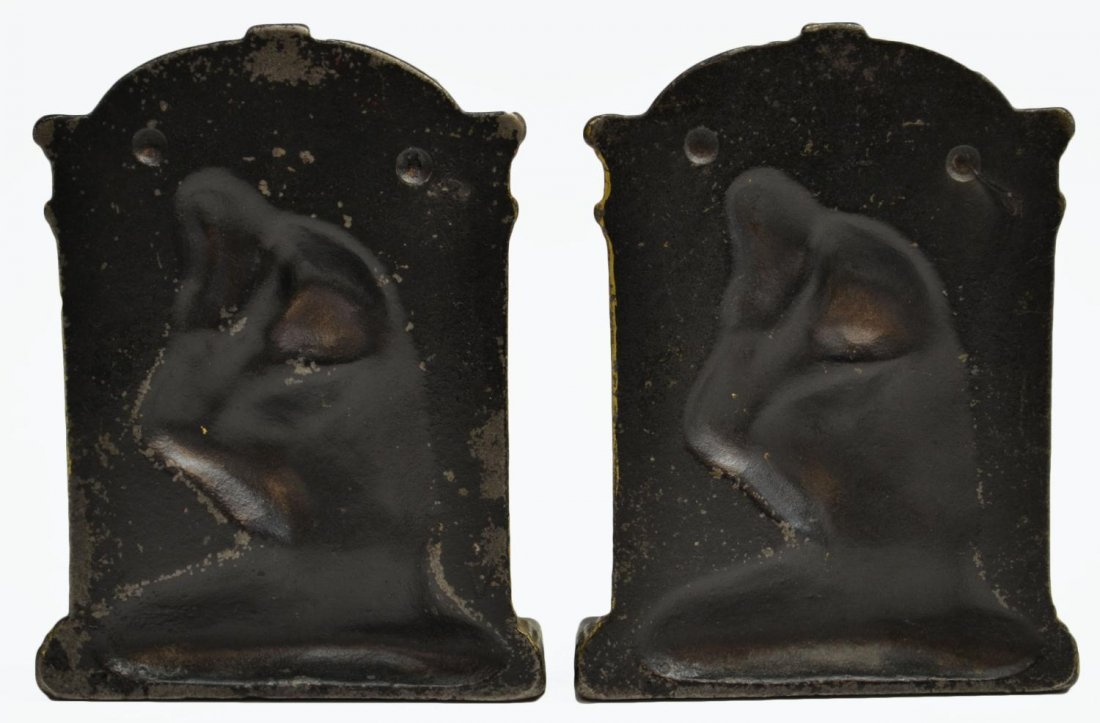 BRASS & IRON LION DORMANT & THINKER BOOKENDS - 9