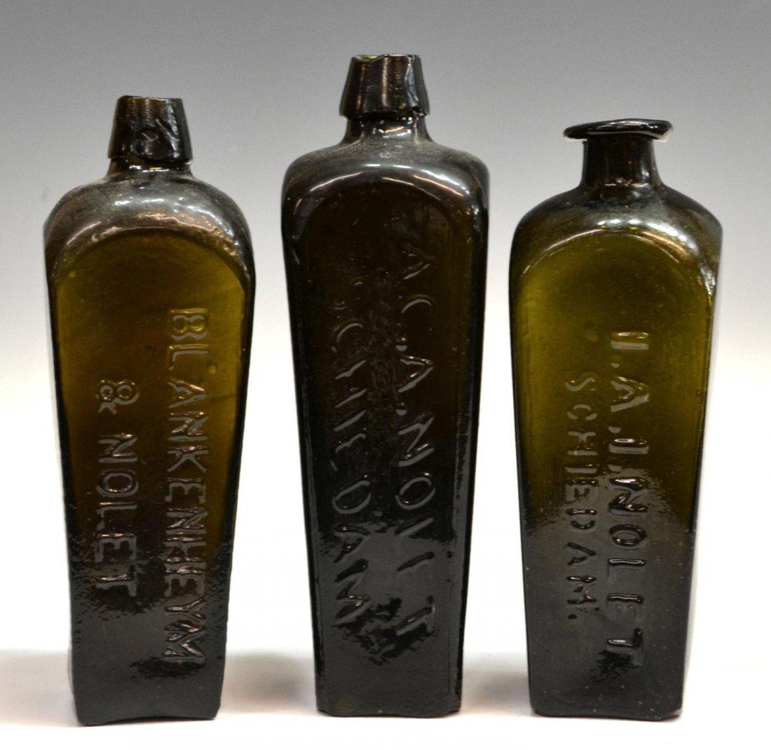 (3) ANTIQUE DUTCH GLASS CASE GIN BOTTLES