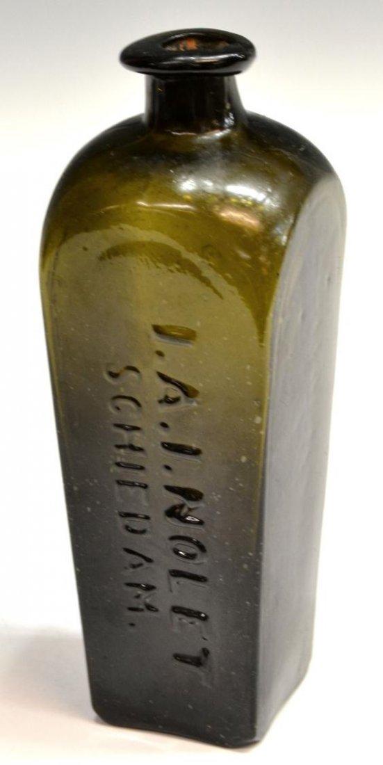 (3) ANTIQUE DUTCH GLASS CASE GIN BOTTLES - 6