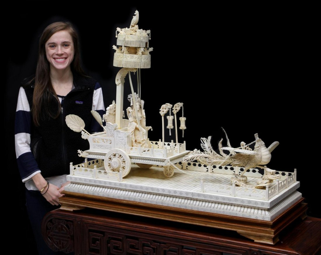 MONUMENTAL CHINESE IVORY FIGURAL GROUP & TABLE