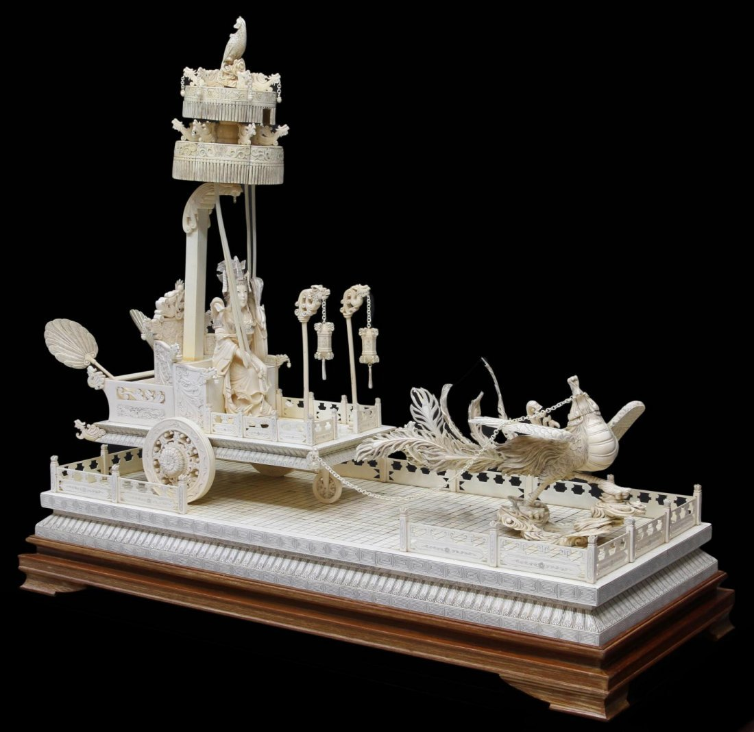 MONUMENTAL CHINESE IVORY FIGURAL GROUP & TABLE - 2