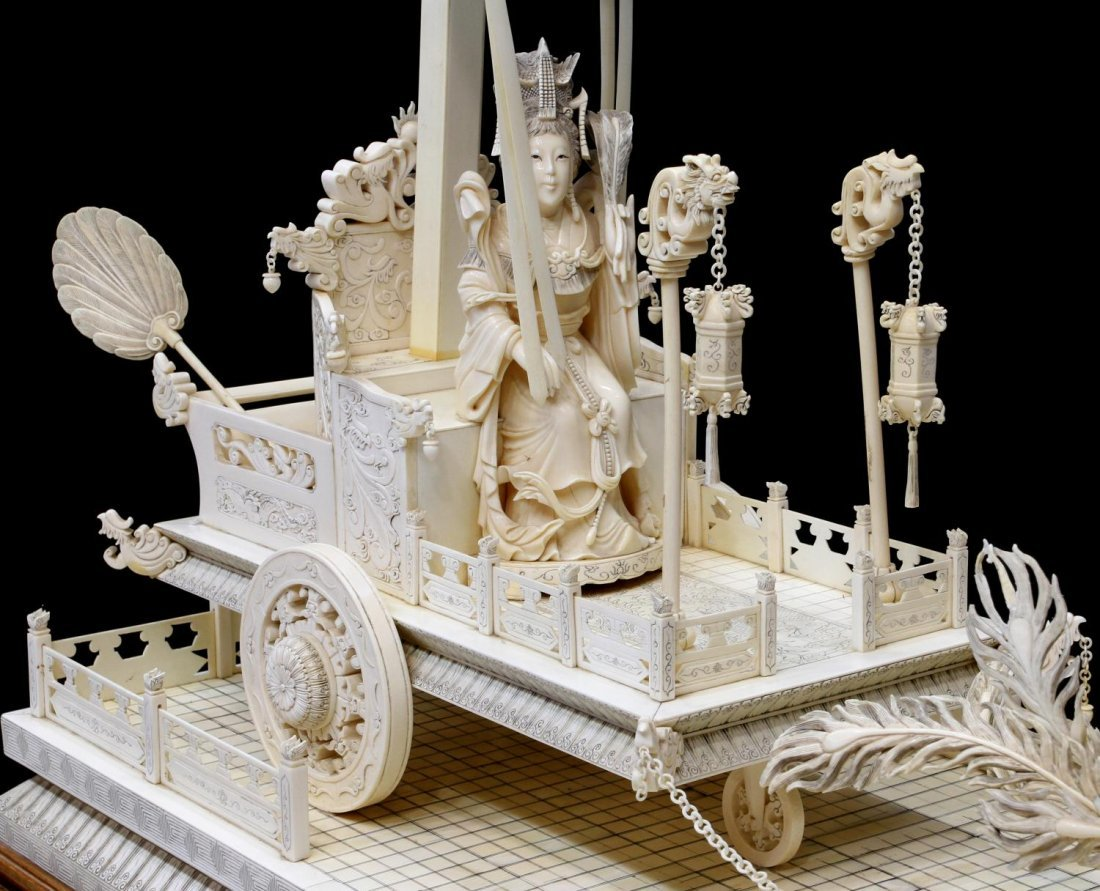 MONUMENTAL CHINESE IVORY FIGURAL GROUP & TABLE - 4