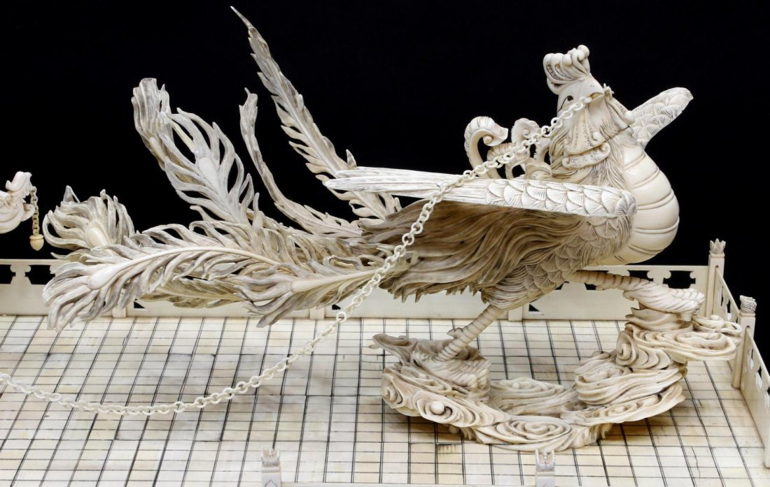 MONUMENTAL CHINESE IVORY FIGURAL GROUP & TABLE - 5