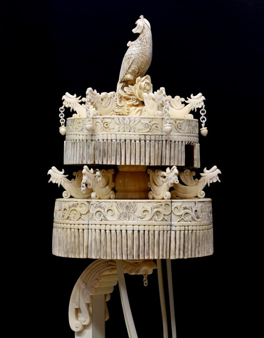 MONUMENTAL CHINESE IVORY FIGURAL GROUP & TABLE - 7