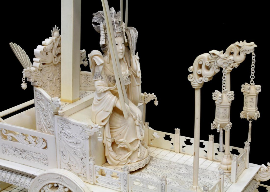 MONUMENTAL CHINESE IVORY FIGURAL GROUP & TABLE - 8
