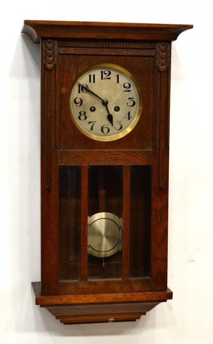 GERMAN TIME & STRIKE OAK CASE WALL CLOCK