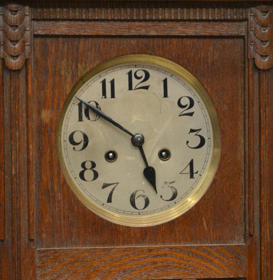 GERMAN TIME & STRIKE OAK CASE WALL CLOCK - 2