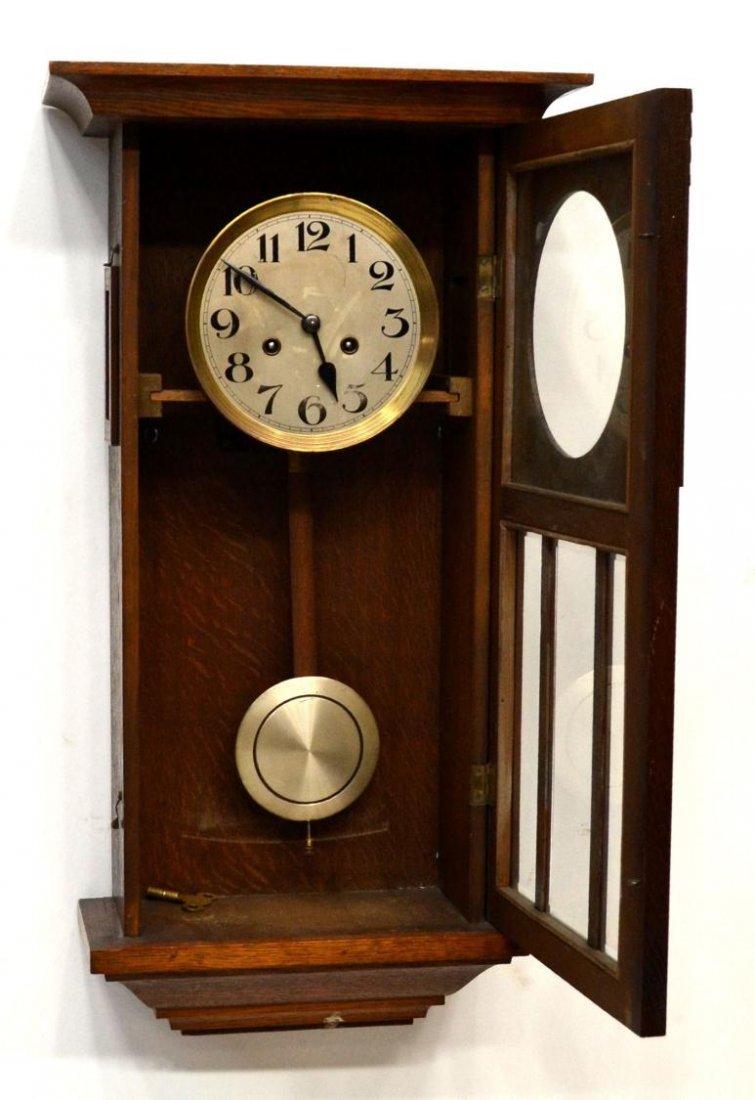 GERMAN TIME & STRIKE OAK CASE WALL CLOCK - 4