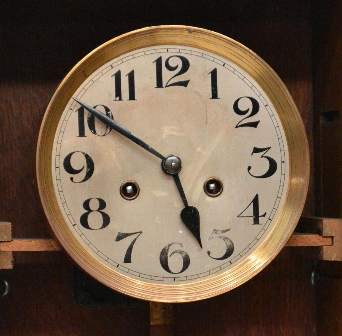 GERMAN TIME & STRIKE OAK CASE WALL CLOCK - 5
