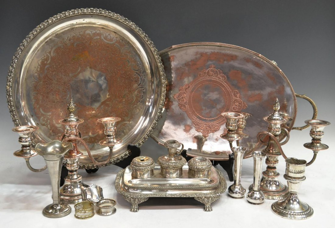 HUGE LOT SILVERPLATE, INKSTAND, TRAYS, STERLING