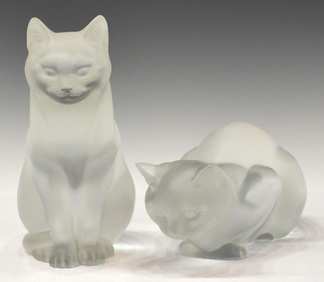 LALIQUE FRANCE CRYSTAL SEATED & CROUCHING CATS