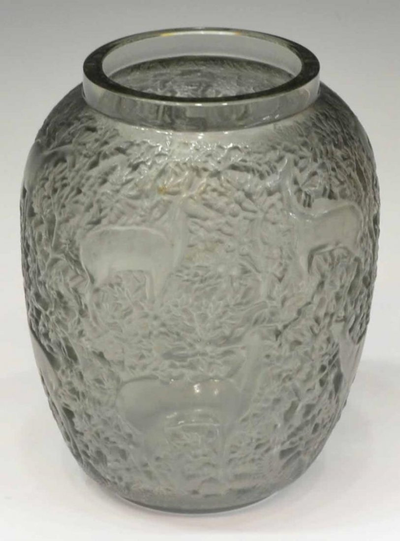 LALIQUE FRANCE GRAY 'BICHES' FROSTED VASE