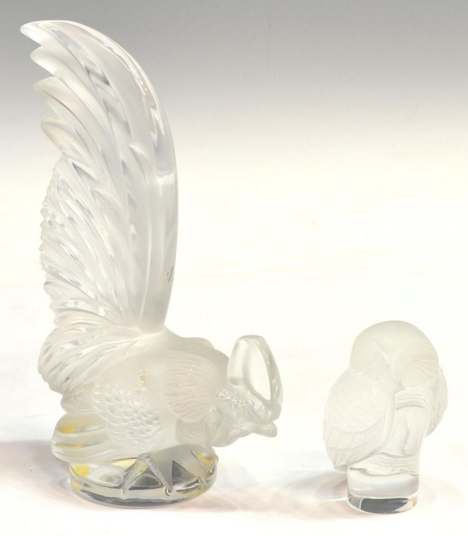(2)LALIQUE CRYSTAL ROOSTER & OWL FORM PAPERWEIGHTS