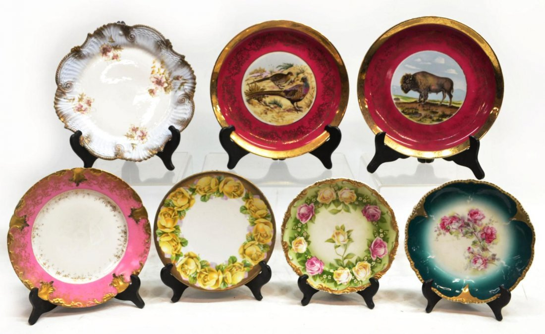 (7) COLLECTION PAINTED & DECORATED CABINET PLATES