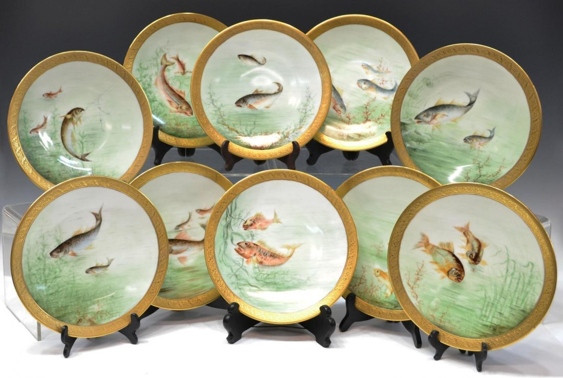 (10) JEAN POUYAT LIMOGES FRANCE GILDED FISH PLATES