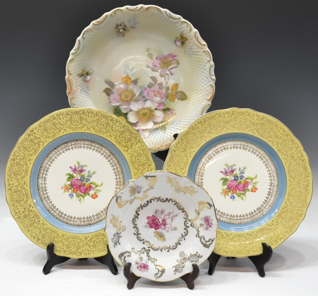 (4) HEAVILY GILDED FLORAL DECORATED CABINET PLATES