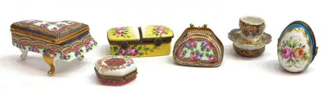 (6) LIMOGES, FRANCE HAND PAINTED PORCELAIN BOXES