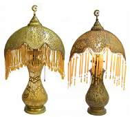 (2) VINTAGE SYRIAN PIERCED BRASS TABLE LAMPS