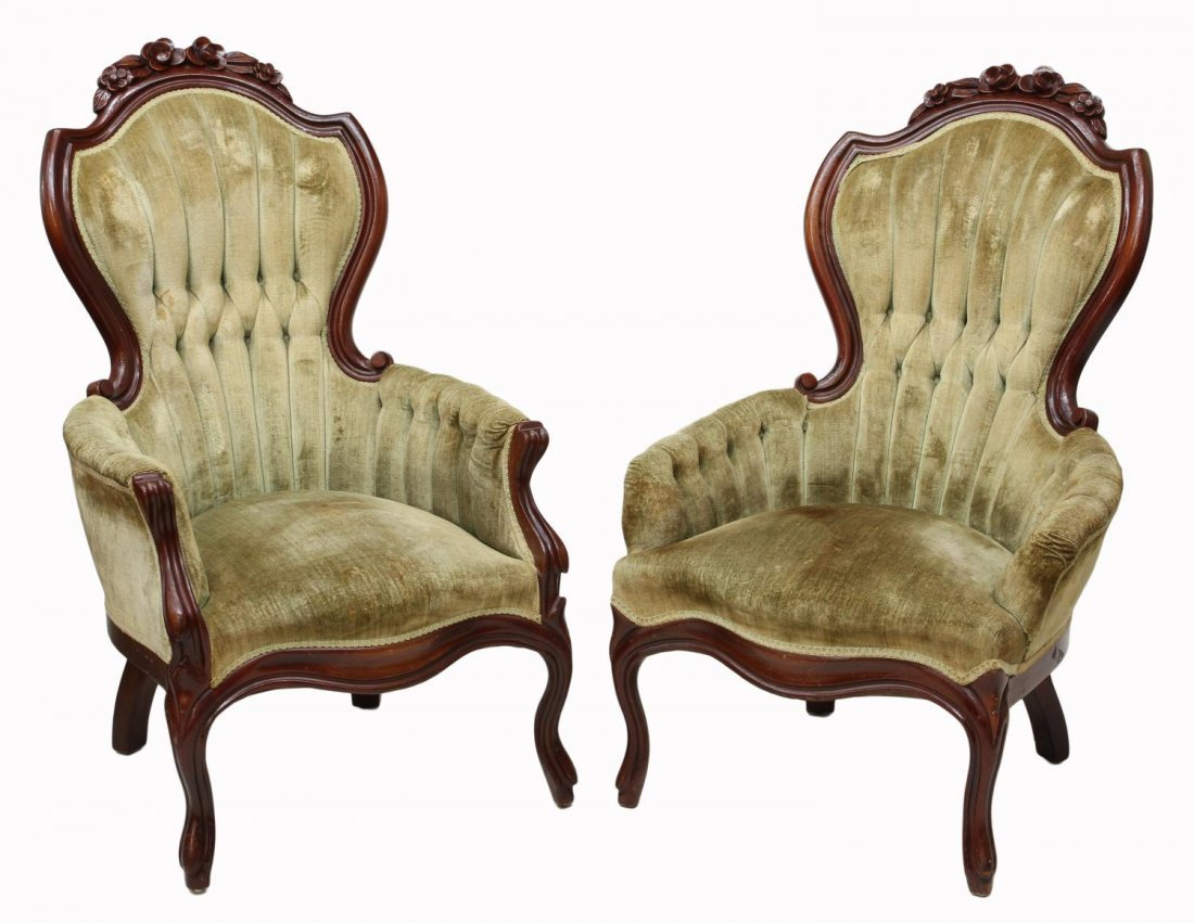 (2) VICTORIAN STYLE ARM CHAIRS