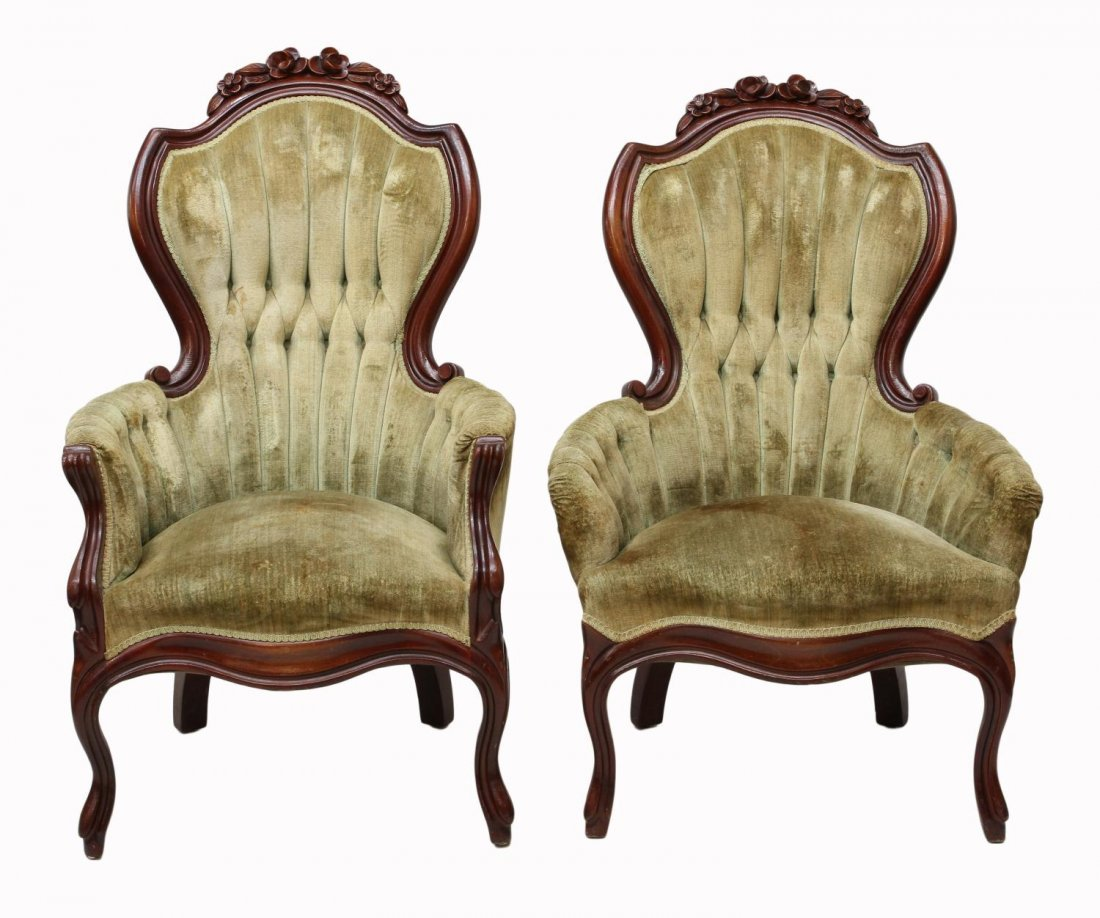 (2) VICTORIAN STYLE ARM CHAIRS - 2