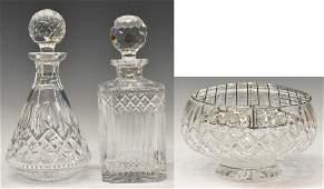 (3) WATERFORD & STUART CUT GLASS DECANTERS, BOWL