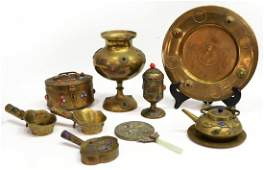 10 CHINESE BRASS CABOCHON INLAID TABLE ITEMS