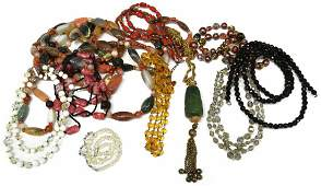 HUGE LOT VINTAGE CRYSTAL BEADED & STONE NECKLACES