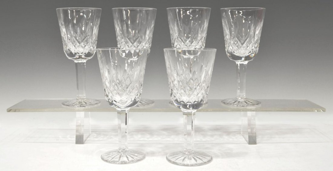 (6) WATERFORD CUT CRYSTAL 'LISMORE' CLARET GOBLETS
