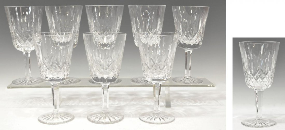 (9) WATERFORD CUT CRYSTAL 'LISMORE' WATER GOBLETS